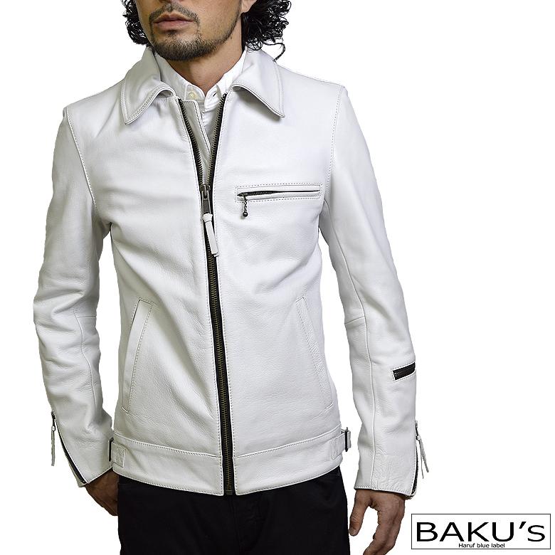 ライダースジャケット レザージャケット メンズ 本革 衿付きシングルライダースジャケット 革ジャン 白 ホワイトレザー S M L LL 3L tqpuk2white