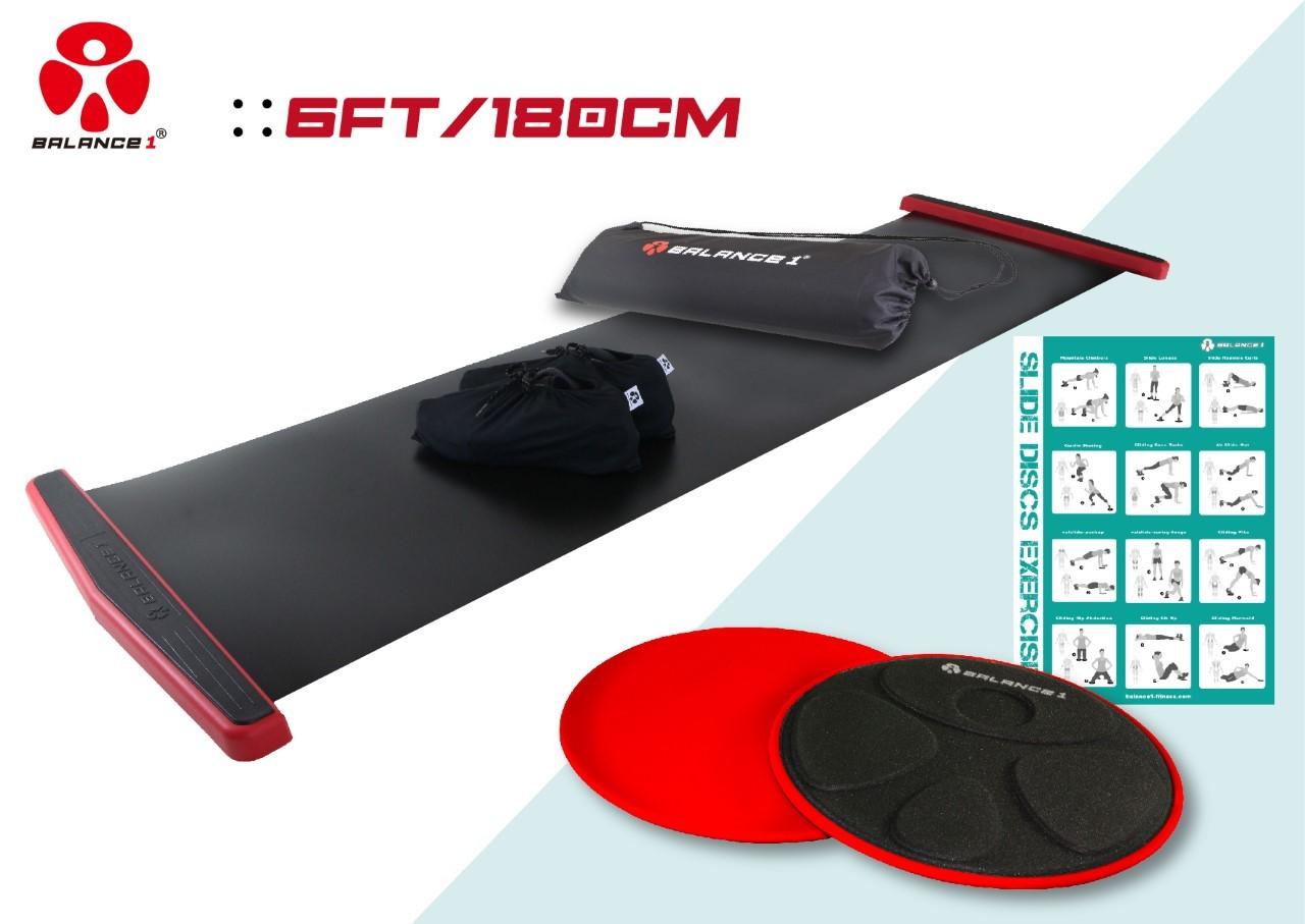 バランスワン スライドボード EX 豪華版 180cm 2色から選べます 特典 スライドディスク 付き 筋トレ ダイエット 体幹トレーニング スライディングボード バランスボード スケーティング 下半身トレーニング マット グッズ