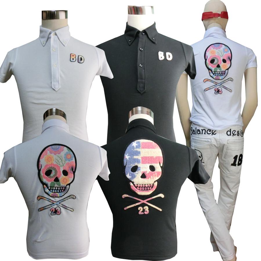 もこもこBIGスカルポロシャツ/S~5L/ドクロポロシャツ【夏新作】【メンズ】【ゴルフウェア】大きいサイズ/golf/限定/お洒落/