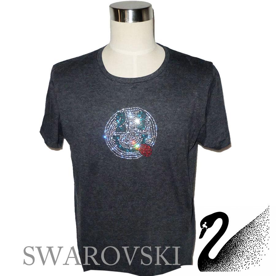 スワロフスキー ラインストーン スマイルTシャツ人気 メンズ お洒落 大人 ハイブランド セレブ