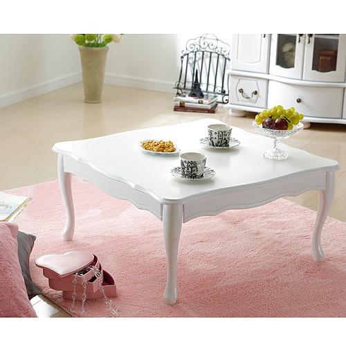【送料無料】テーブル ローテーブル 折れ脚式猫脚テーブル 〔リサナ〕75×75cm 折りたたみ 折り畳み 猫足 ホワイト 白 座卓