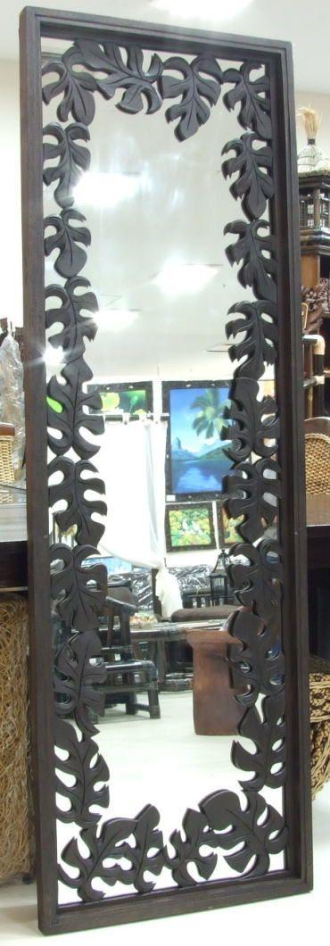 ◆モンステラ彫刻・木製壁掛けミラー 60cm×180cm◆(アジアンミラー・バリミラー・カービング・木彫りエスニック・オリエンタル・ウッドミラー・姿見)