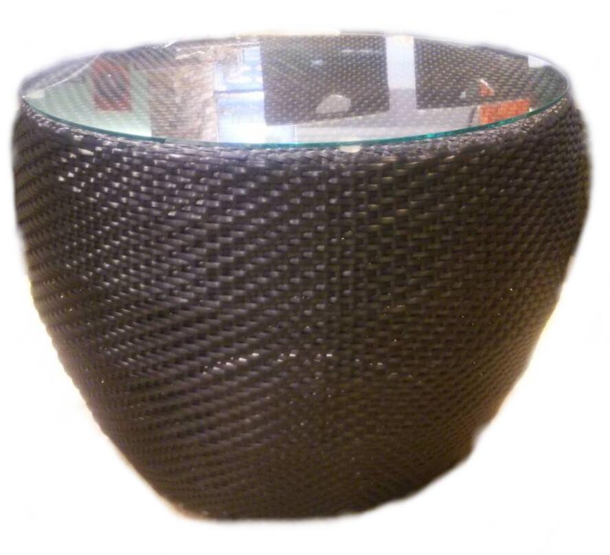 ◆シンセティックラタンラウンドサイドテーブル ブラックガラス付・直径60cm◆【軽量・丈夫な家具・花台コーヒーテーブル・サイドテーブル