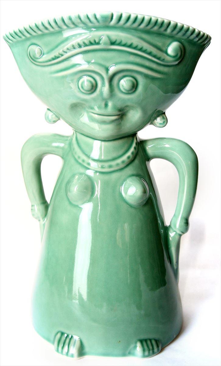 【Jenggala・ジェンガラ】◆ロゴデザイン 人型花瓶 エメラルド◆【アジアン食器・洋食器・卓上テーブルアイテム・バリプレミアム】