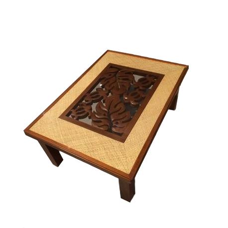 ◆モンステラ彫刻のリビングテーブル◆天板ガラス付き(コーヒーテーブル・ガラステーブル・ウッド・マホガニー・天然木)