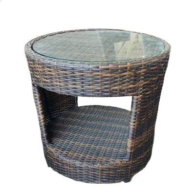 ◆シンセティックラタンラウンドサイドテーブル ブラウンガラス付・直径50cm◆【軽量・丈夫な家具・花台コーヒーテーブル・サイドテーブル