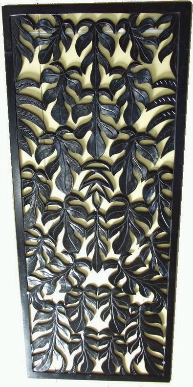 ◆木彫り壁飾り モンステラ ブラック50×120cm◆(カービング・レリーフ・木彫り・MDF)
