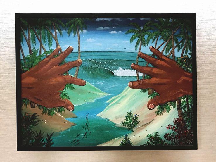 ◆アロハアート 手からのぞく海◆(波・ヤシの木・風景・絵画)