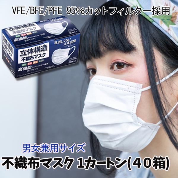 使い捨てマスク 箱あり 1カートン(40箱) マスク 在庫あり 三層構造 普通サイズ 大人 花粉症対策 ますく mask レギュラーサイズ 立体 フェイスマス PM2.5 高品質マスク 高品質 バリブラン 抗菌通気超快適