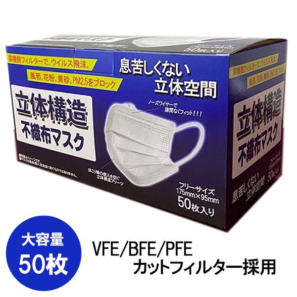 使い捨てマスク 箱あり 50枚入り 1カートン(40箱) マスク 在庫あり 三層構造 普通サイズ 大人 花粉症対策 ますく mask レギュラーサイズ 立体 フェイスマス PM2.5 高品質マスク 高品質 バリブラン