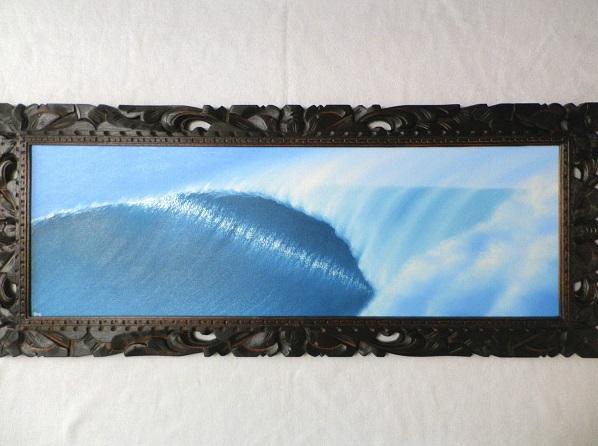 バリ島の絵画 波の絵 103×43cm (E-12)【 バリ絵画 海の絵 アートパネル フレーム付き サーフィン ハワイアン サーファー 風水 アジアン 南国 海 リゾート 大型】