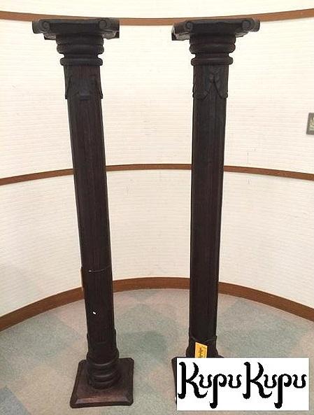 木彫りウッドスタンド H170cm 1台【花台 コンソール 天然木 木製 スリム コンソール アンティーク フラワースタンド リビング バリ島 インテリア アジアン家具 完成品 】