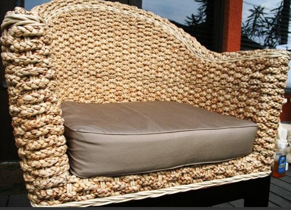 ウォーターヒヤシンス カウチソファ 1P【モダン hyacinth おしゃれ 椅子 ダイニングチェア イス ダイニング 木製 食卓 いす オシャレ バリ家具 ラタン 個性的 黄金色 1人用 】