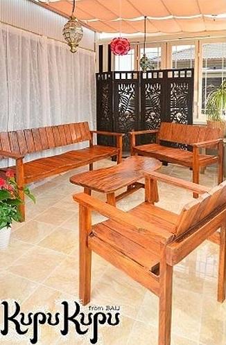 アンティーク風家具 4点SET オリジナルチェア テーブル [ライトブラウン]【ガーデン用家具 3人掛け 2人掛け 無垢 バリ ベンチ おしゃれ シンプル ローテーブル】