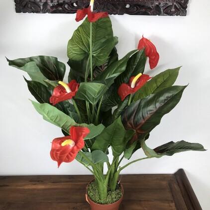 造花 アンスリウム 赤 H80cm 【フェイクグリーン アジアン 観葉植物 おしゃれ インテリア アンスリューム インテリアグリーン バリ雑貨】