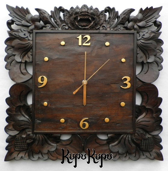 木製レリーフ時計 掛け時計 バロン B ダークブラウン バリ島製 バリ彫刻 アジアン雑貨 アジアンリゾート