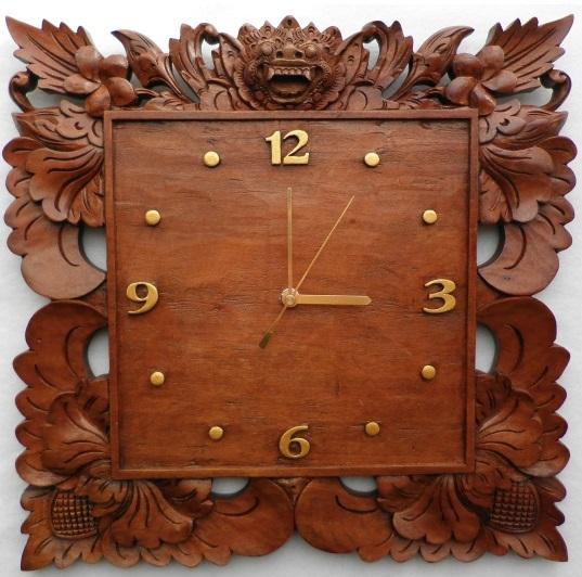 木製レリーフ時計 掛け時計 バロン A ブラウン アジアンリゾート バリ島製 バリ彫刻 木彫り アジアン雑貨