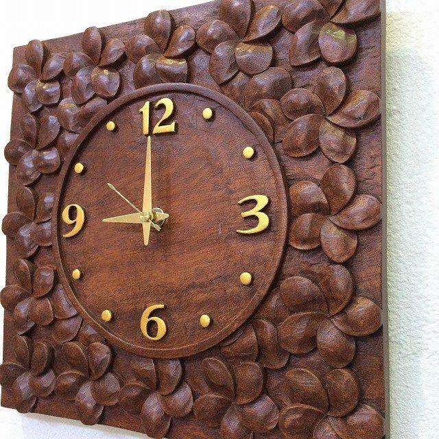 木製レリーフ時計 掛け時計 プルメリア C ブラウン バリ島製 バリ雑貨 アジアン雑貨 南国 リゾート アジアンインテリア