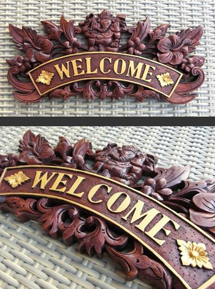 【予約】 バリ風 表札 木製 ガネーシャ ブラウン ネームプレート ウェルカムボード ウェルカムプレート アジアン 雑貨