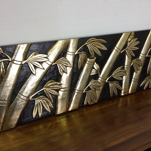 木彫りのレリーフアートパネル バンブー シルバー 120cm 【アジアン 和風 ウォールデコレーション リゾートホテル 木製 彫刻 おしゃれ】