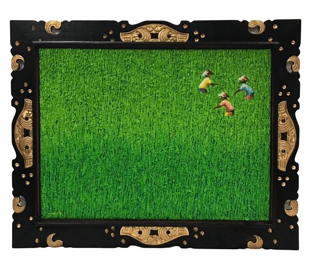 田園立体絵画ゴールド枠右上農夫内向【バリ・アジアン雑貨      バリパラダイス】