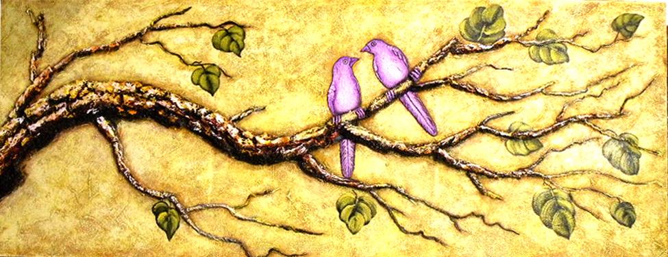 バリ絵画  (枝にとまる紫の鳥)【バリ・アジアン雑貨バリパラダイス】