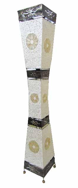 シェル&アイアンランプフラワーモチーフ四角柱アイアンカット150【バリ・アジアン雑貨バリパラダイス】