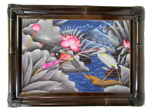 バリ絵画 ブンゴセカンバンブーフレーム45.5*61グレー系鳥2赤ロータス【バリ・アジアン雑貨バリパラダイス】