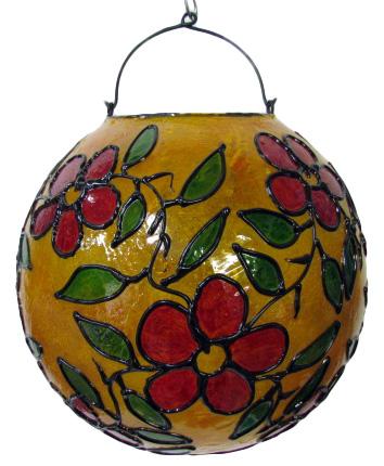 ステンドグラス調吊り下げランプ球形 オレンジ地【バリ・アジアン雑貨バリパラダイス】
