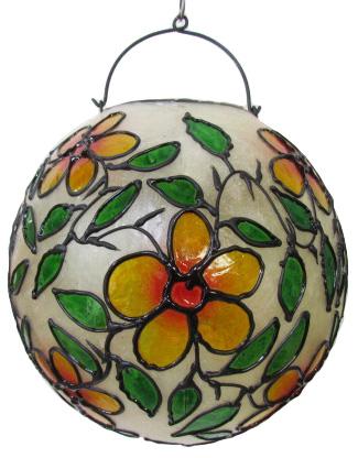 ステンドグラス調吊り下げランプ球形 白地【バリ・アジアン雑貨バリパラダイス】