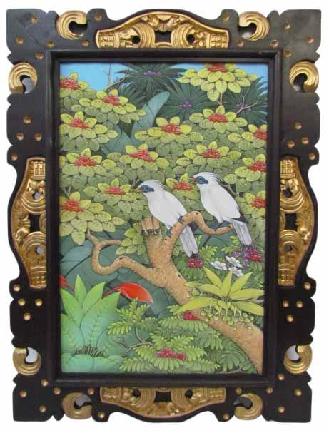 バリ絵画 ブンゴセカンゴールドフレーム80*59 白鳥【バリ・アジアン雑貨バリパラダイス】