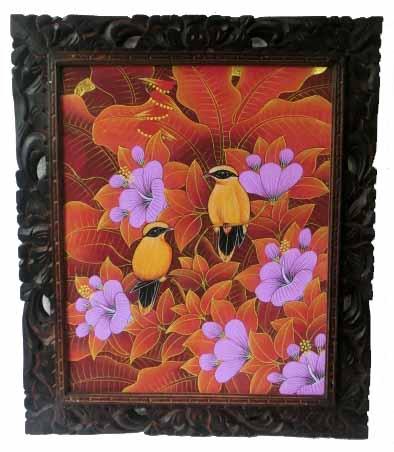 バリ絵画 ブンゴセカン63*53縦型 紫花黄鳥【バリ・アジアン雑貨バリパラダイス】