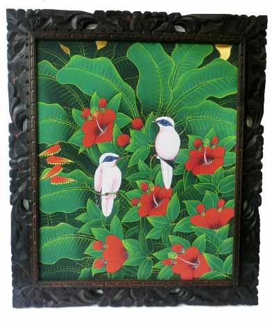 バリ絵画 ブンゴセカン72.5*63縦型 赤花白鳥【バリ・アジアン雑貨バリパラダイス】