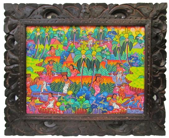 ヤングアーチスト絵画棚田の風景カラフル【バリ・アジアン雑貨バリパラダイス】