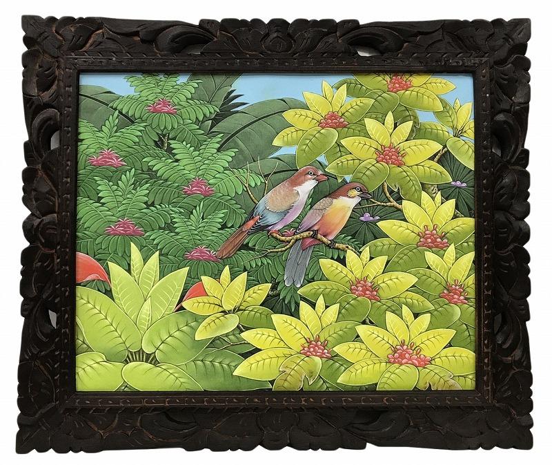 バリ絵画 ブンゴセカン54*63茶頭鳥右向き【バリ・アジアン雑貨バリパラダイス】