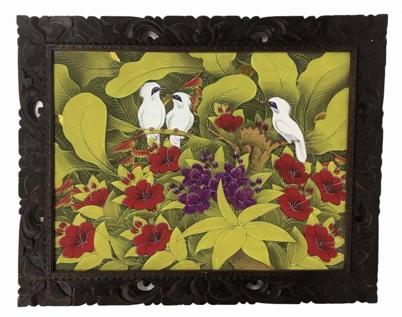 バリ絵画 ブンゴセカン79*99白鳥3赤花紫花【バリ・アジアン雑貨バリパラダイス】
