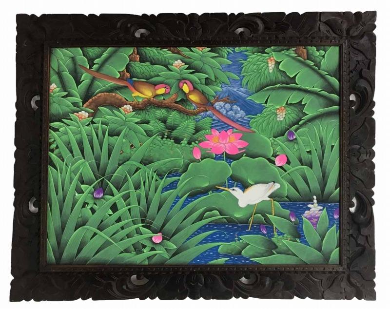 バリ絵画 ブンゴセカン79*99ピンク蓮白鷺【バリ・アジアン雑貨バリパラダイス】