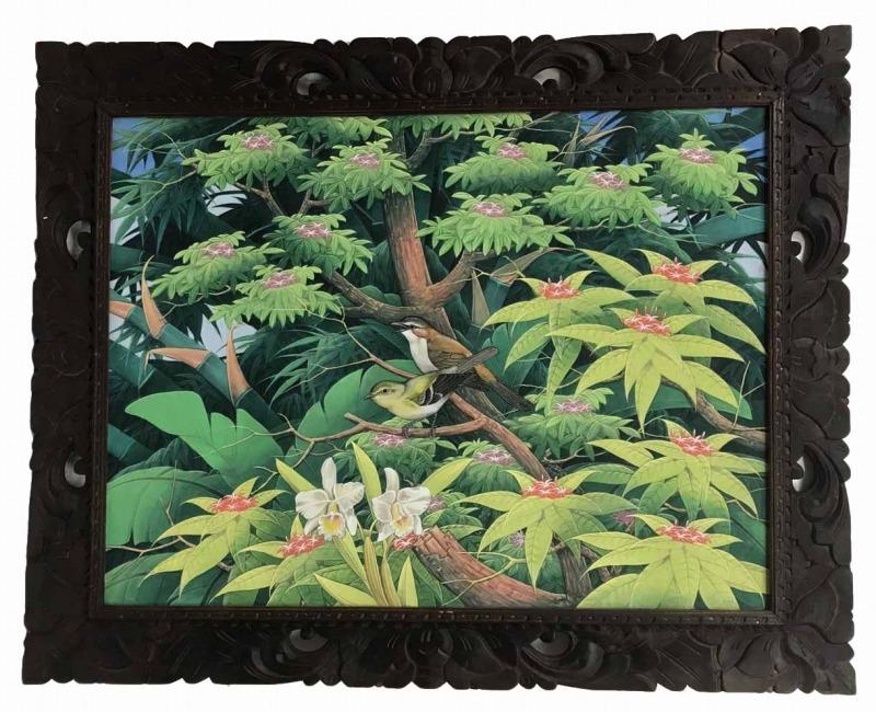 バリ絵画 ブンゴセカン79*99白蘭・茶・黄緑鳥【バリ・アジアン雑貨バリパラダイス】