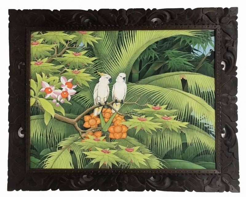 バリ絵画 ブンゴセカン79*99白オウム茶実【バリ・アジアン雑貨バリパラダイス】