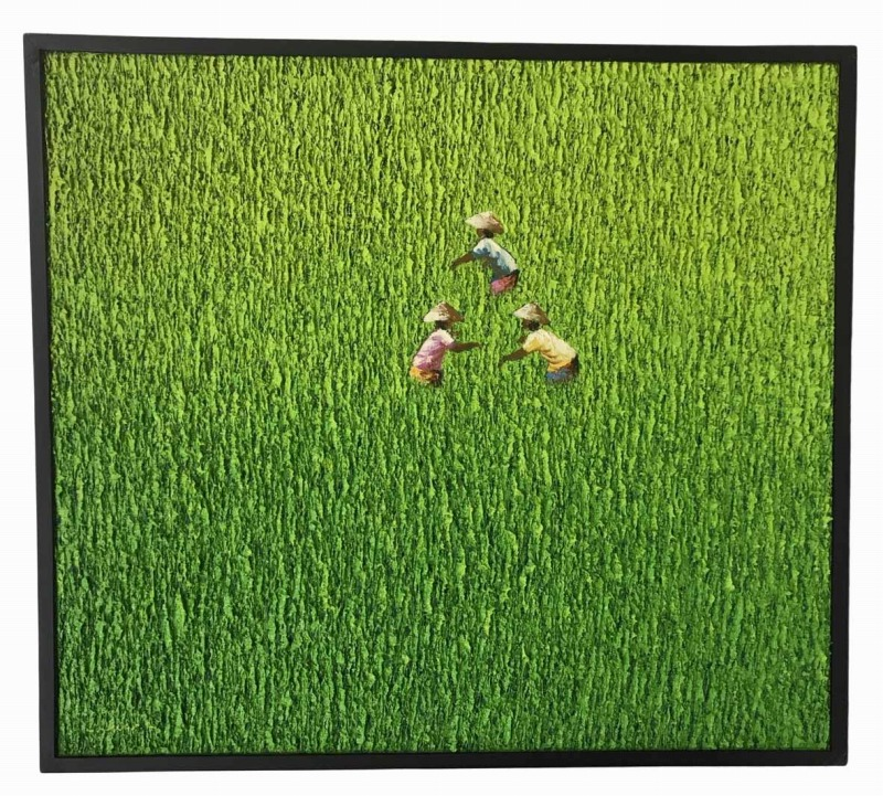 【一部予約販売】 バリ絵画田園風景立体タッチ83*92.5中央3【バリ・アジアン雑貨バリパラダイス】, 木製食器の店 若狭屋 905d3fae