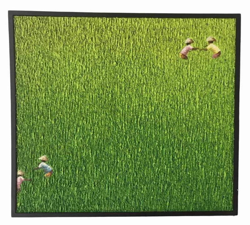 バリ絵画田園風景立体タッチ83*92.5右2左2【バリ・アジアン雑貨バリパラダイス】