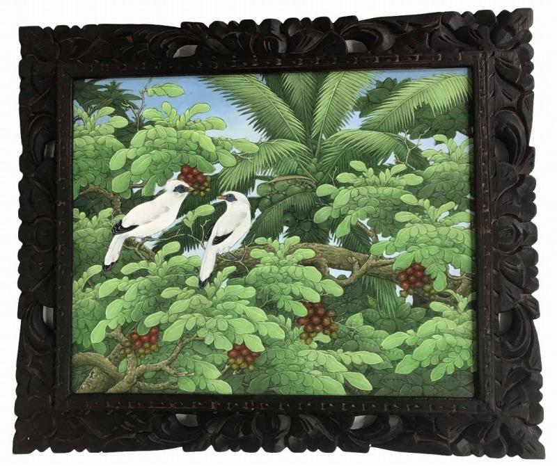 バリ絵画 ブンゴセカン54*63ハイクォリティ 茶木の実【バリ・アジアン雑貨バリパラダイス】