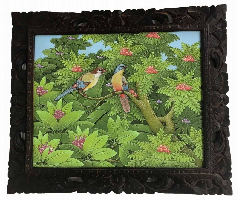 バリ絵画 ブンゴセカン54*63ハイクォリティ カラフル鳥【バリ・アジアン雑貨バリパラダイス】