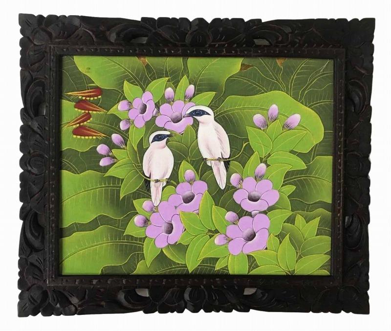 バリ絵画 ブンゴセカン54*63黄緑ベース紫花6【バリ・アジアン雑貨バリパラダイス】