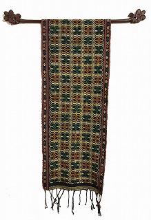 スンバ島イカット 青系幾何学模様 146×33cm【バリ・アジアン雑貨バリパラダイス】