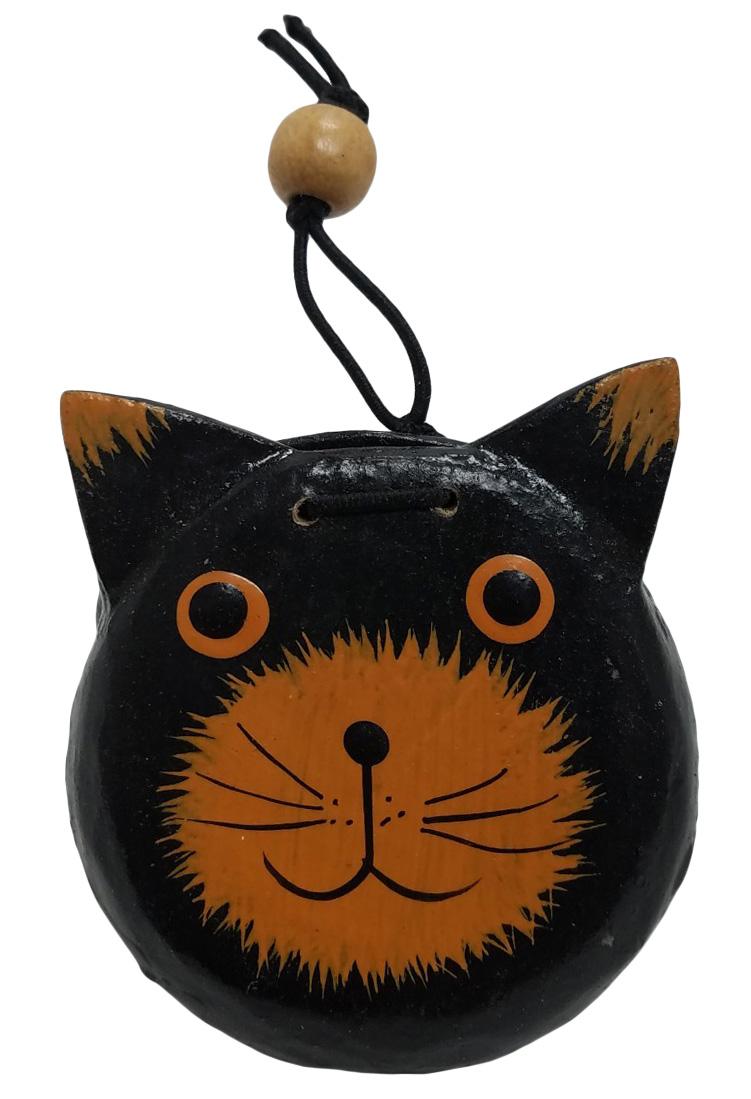 カスタネット猫  黒<BR>【バリ・アジアン雑貨バリパラダイス】
