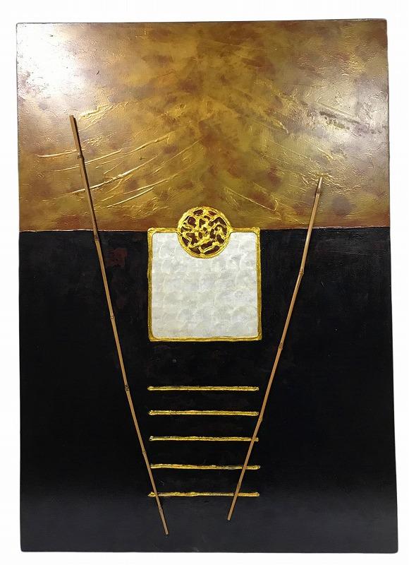 アート絵画ゴールド&ブラック【バリ・アジアン雑貨バリパラダイス】