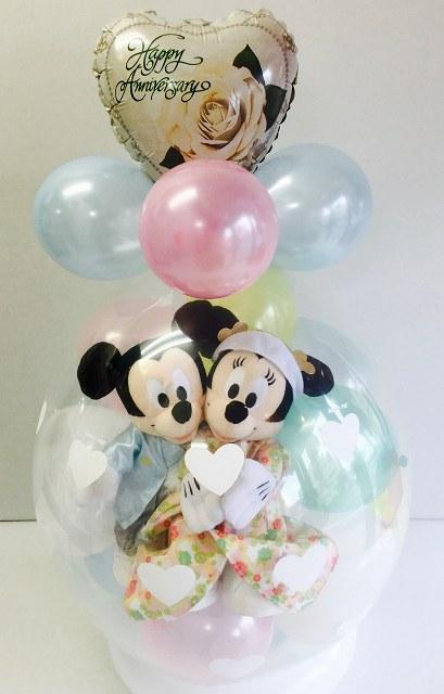 Lサイズ和装バージョン★バルーン電報(電報)結婚式 ディズニー♪ミッキー&ミニーのウェディング♪ ぬいぐるみ