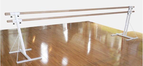 バレエレッスンバー クリスタルバー プロユース ツインタイプ可動式1連ユニット バー3m TW-L100,スタジオ,教室,バレエ用品
