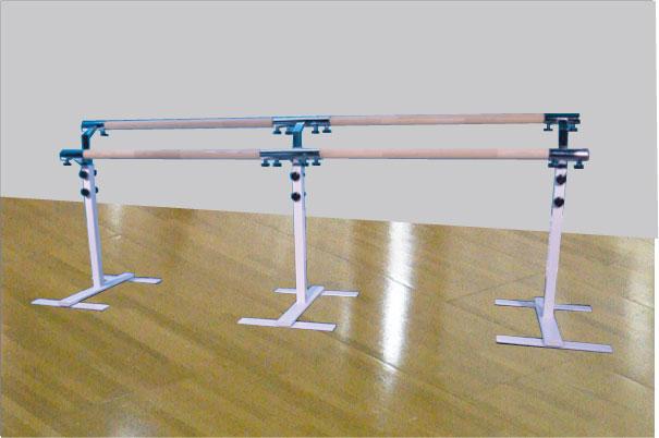 バレエレッスンバー宝品番,クリスタルバー プロユース ツインタイプ可動式2連ユニット バー3m TW-L200,スタジオ,教室,バレエ用品